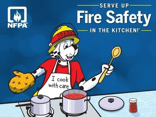 Fire Prevention Week Serve Up Safety in the Kitchen cartoon