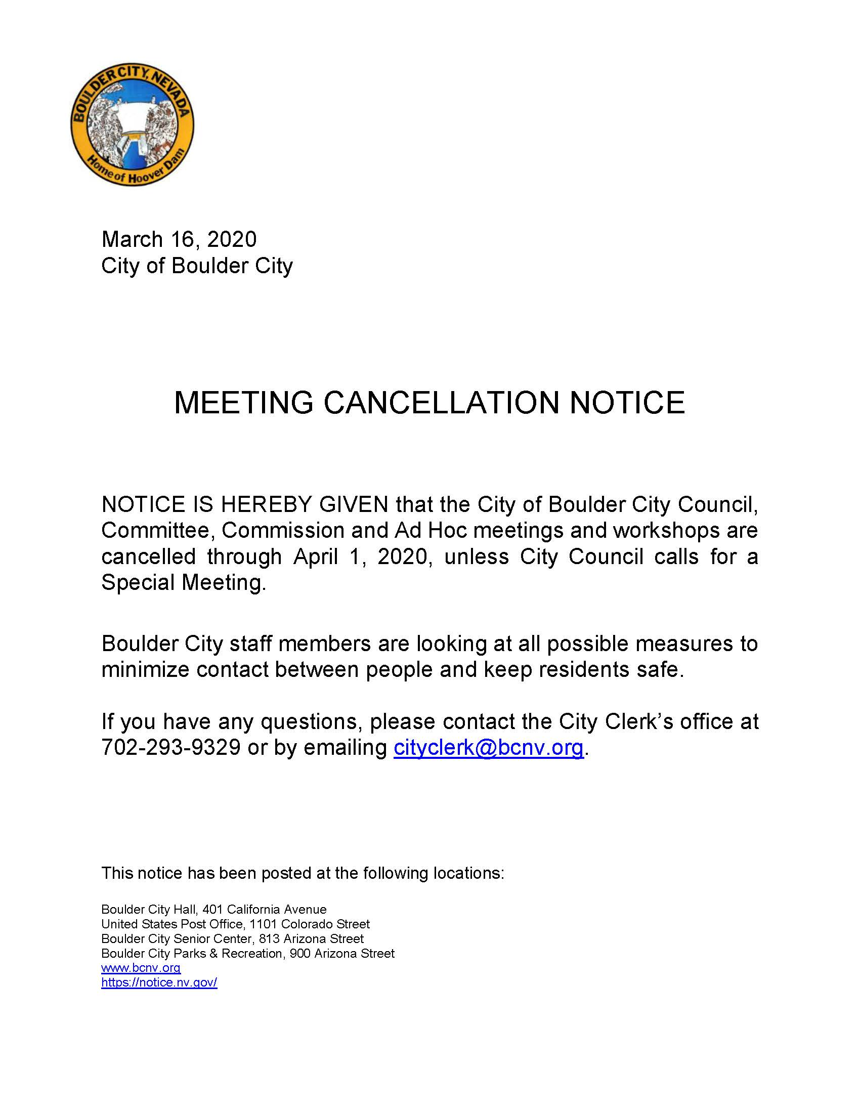 COVID-19 Meeting Cancellation Notice