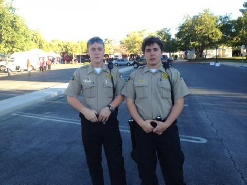 Explorer Sergeant Pool and Explorer Ball on foot patrol